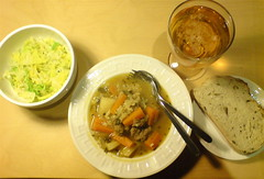 Scouse, buttered cabbage, olive bread and glass of beer
