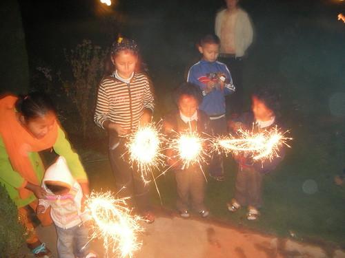 children and sparklers