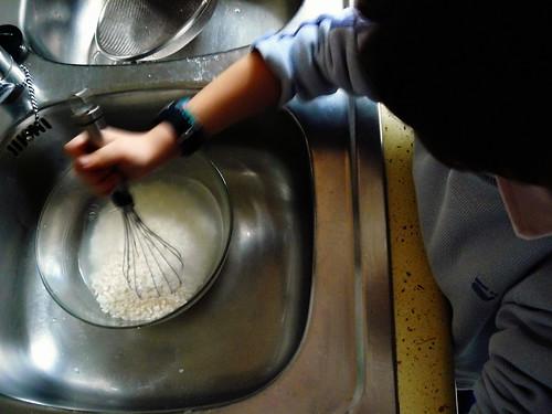 Lavando el arroz