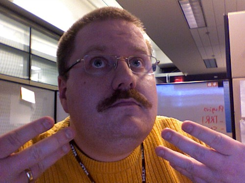 Kevin, showing off two months of 'stache-growing.