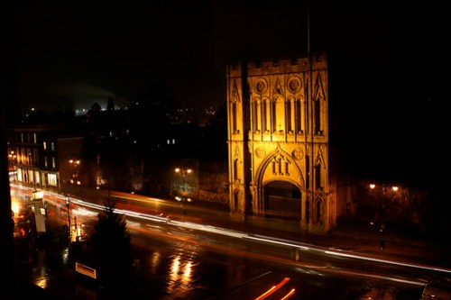 View from the Angel at night, Bury St. Edmunds, UK