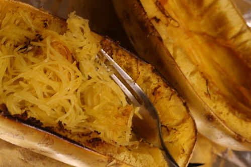 Fluffing the strands out of a baked spaghetti squash
