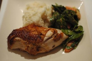 Roast chicken and cassava mash