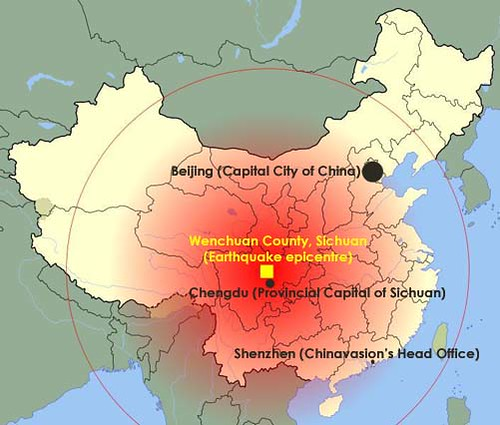 map of sichuan earthquake extent