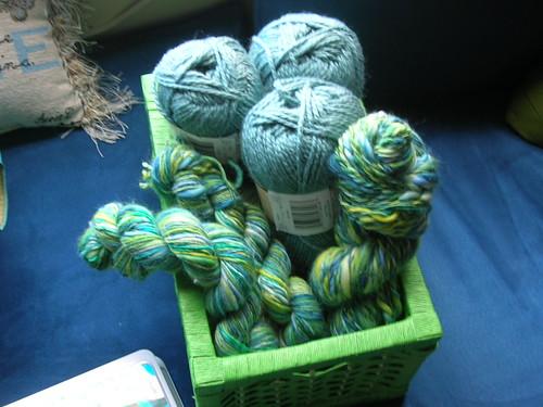 Handspun yarn + Wool Acrylic blend.