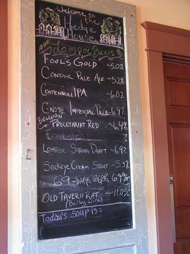 Hedge House beer list