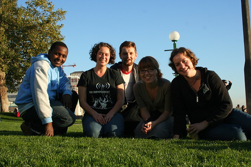 The eastern Africa team hangs out at a park in Seattle.