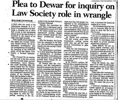 Scotsman 2 December 1997  Plea  to Dewar for inquiry on Law Society role in wrangle