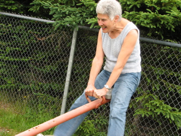 Mom on teeter totter 2006