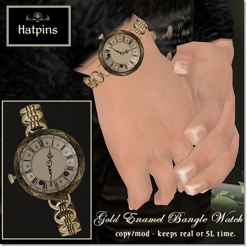 Hatpins - Gold Enamel Bangle Watch - Sixty Linden Weekend