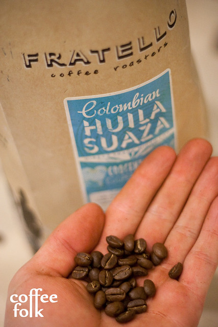 Colombian Suaza Micro-Lot, Direct Trade, close up on the beans.