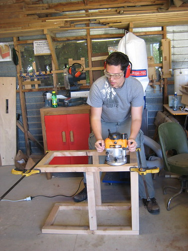 Craig playing with the router