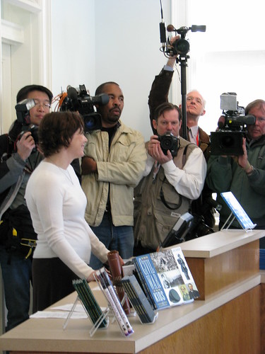 The press standby before the first $5 is entered into circulation.  The $5 bill was used to purchase a book in the President Lincoln's Cottage museum store.