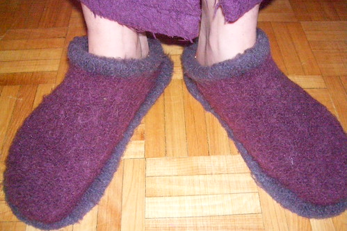 purple felted clogs