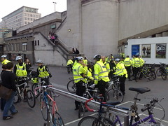 Police on bicycles at Waterloo bridge
