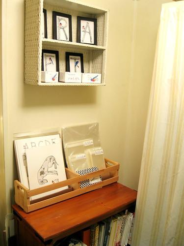 Craft room bookshelf.