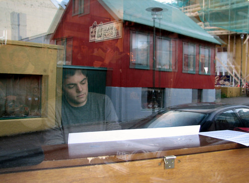 """Nico Muhly, through the window of Kaffibarinn"" by Roo Reynolds"