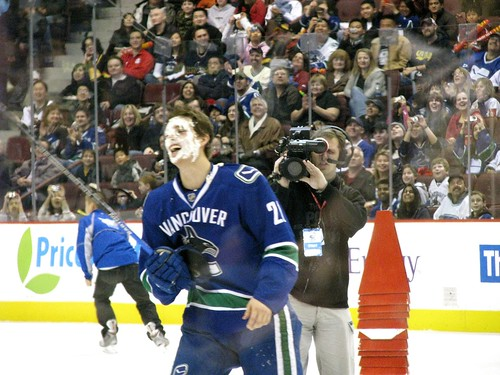Mason Raymond wins fastest skater, gets pie in face