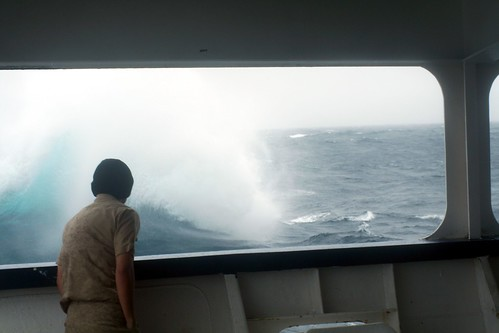 Big Wave Seen From Ship's Bridge - TS Golden BEar