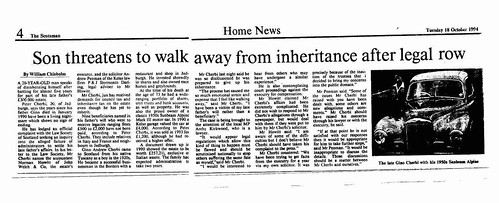 Scotsman 18 October 1994 Son threatens to walk away from inheritance after legal row