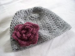 Pink and Grey Crocheted Hat