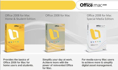 Office 2008 for Mac (all three editions)