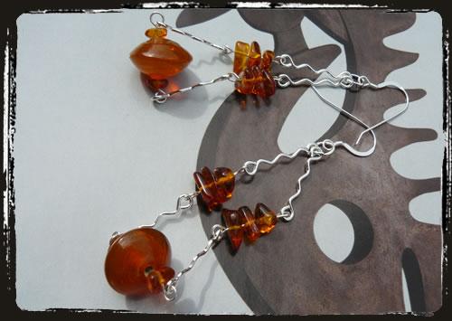 Orecchini arancio - Orange amber earrings AMHDAMZ
