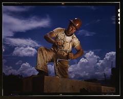A carpenter at the TVA's new Douglas dam on th...