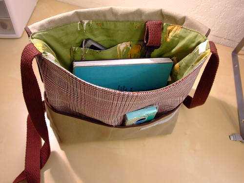 """equestrian"" messenger bag interior"