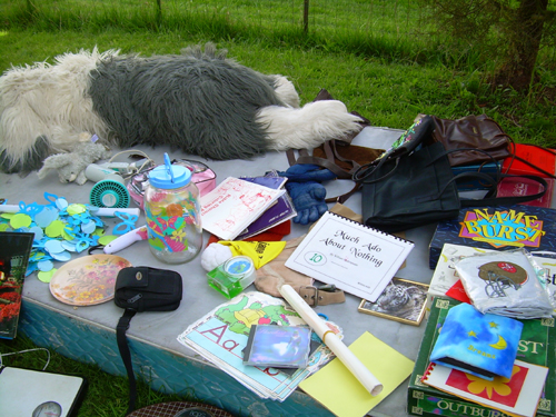 Junk on bed in yard