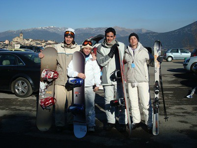 Foto de equipo al bajar de las pistas