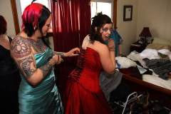 Getting laced up for the big event by one super foxy bridesmaid.