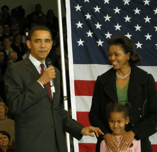 Barack with Michelle and Sasha