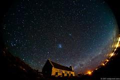Night sky over the Church of the Good Shepherd