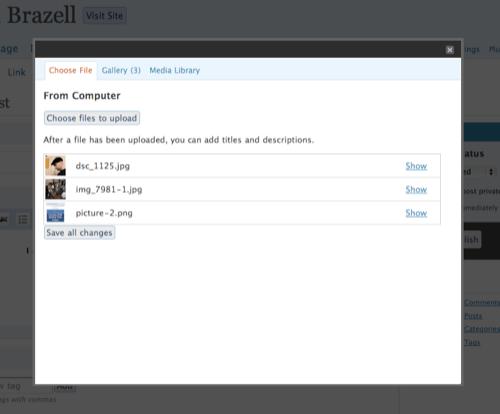 WordPress 2.5 Flash Uploader