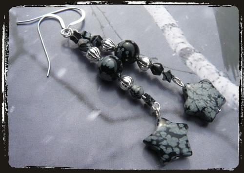 Orecchini grigi - Snowflake earrings AMHDSSF