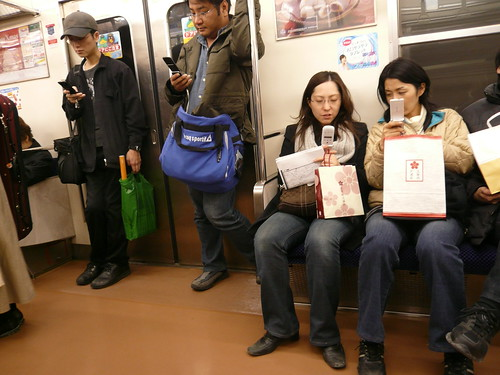 Mobile phones on a train in Japan