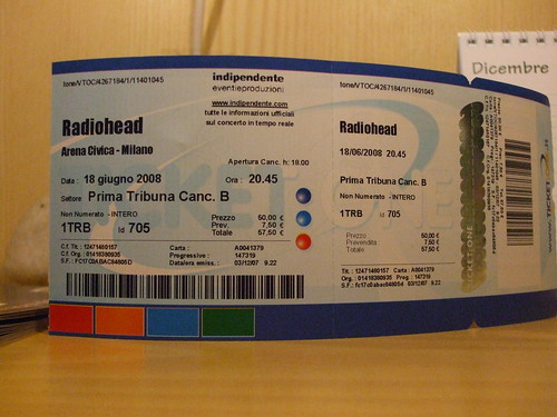 Radiohead's ticket 18/6/2008