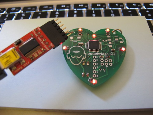 Heart Spark: I uploaded a sketch (code) via fangled FTDI + some header pins