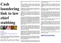 Cash laundering link to law chief stabbing - Scotland on Sunday 29 January 2006