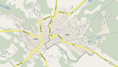 Mapa de Valga y Valka en Google Maps. Click para ver más grande.