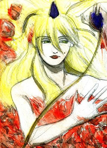 Mujer sobre rosas