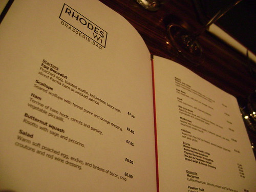 Menu at Rhodes W1 Brasserie Bar