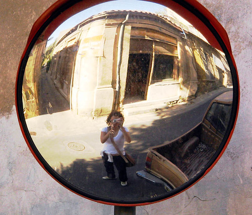 ttallou on a fish-eye mirror in walled city of Nicosia, Cyprus
