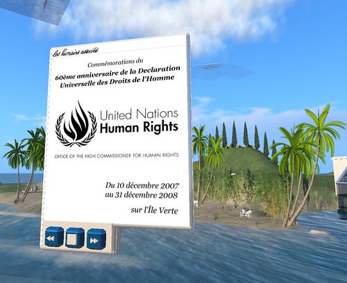 60eme anniversaire de la Déclaration Universelle des Droits de l'Homme, Ile Verte sur Second Life (Les Humains Associés), 10 décembre 2007