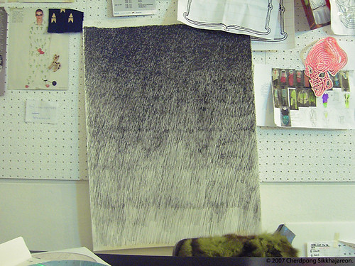 In Chai studio, My LINEart for silkscreen in summer 2008.