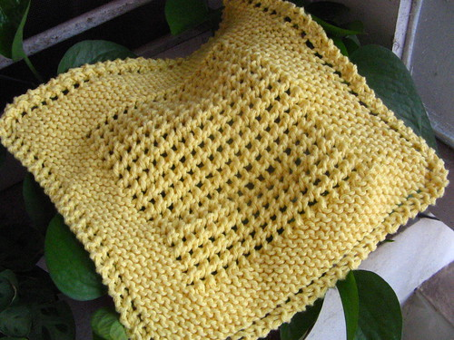 ELOOOmanator's diagonal knit dishcloth