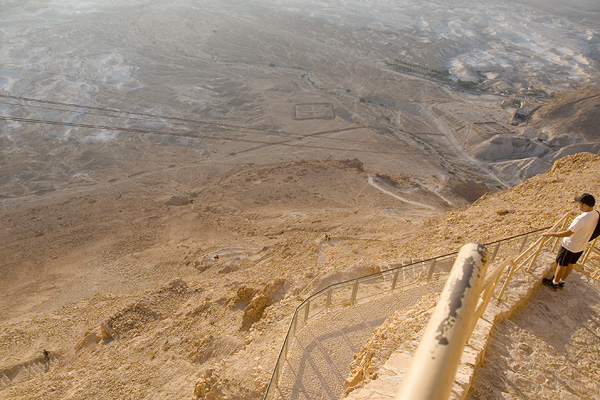 Richard, looking down the Snake Path up Masada.