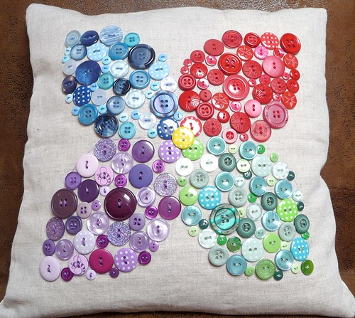 Button flower cushion by Samantha Halliwell