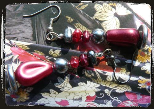 Orecchini rosso grigio - Red gray earrings MEHBRGM